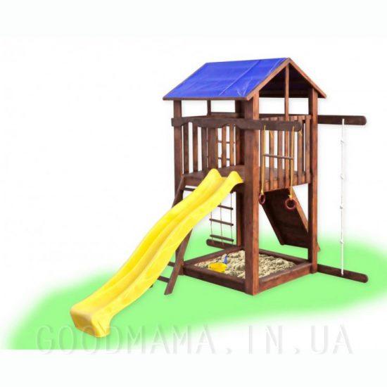 Детский домик с горкой и скалолазкой для улицы