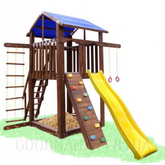 Детский домик со скалолазкой, горкой и качелькой для улицы