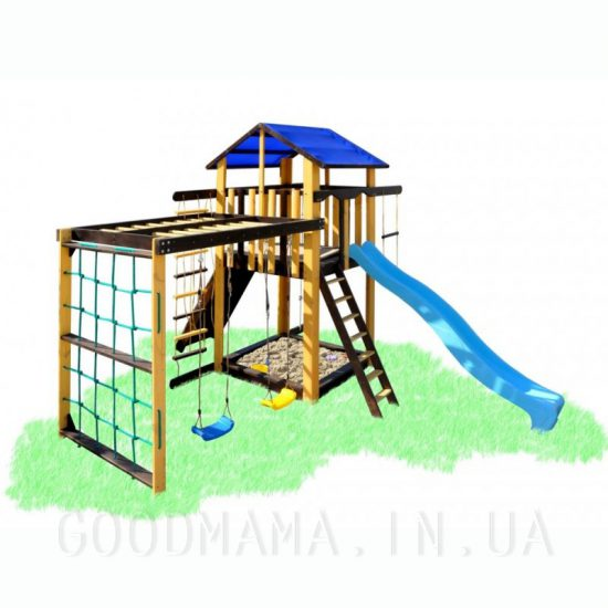 Детский игровой комплекс с рукоходом и качелями цветной