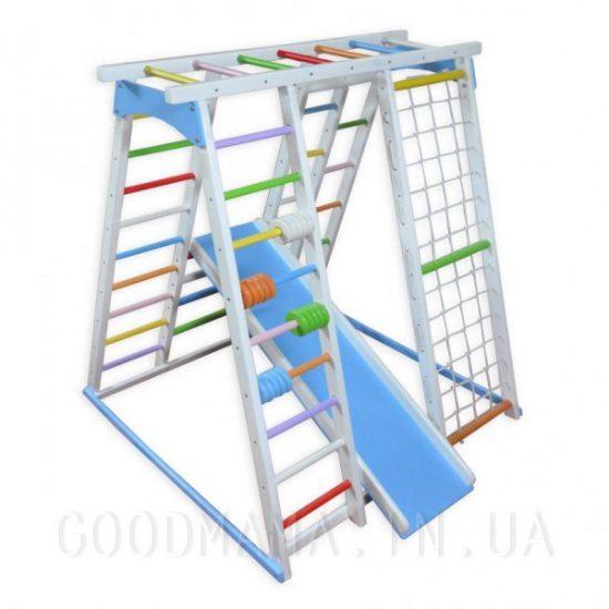 Детский спортивный комплекс со счетами бело-голубой