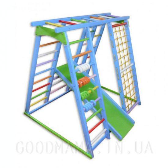 Детский спортивный комплекс со счетами сине-зеленый