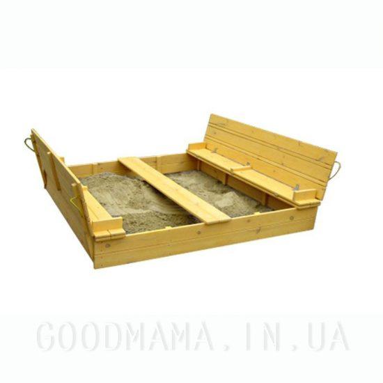 Песочница из сосны 200х200см с крышкой в тонировке груша