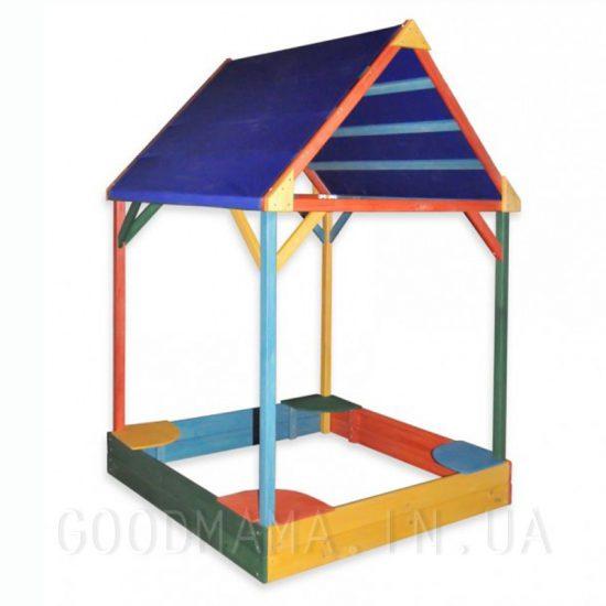 Песочница с тентовой крышей цветная