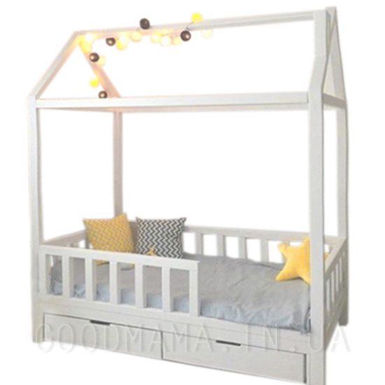 Кровать - домик с дымоходом и ящиками