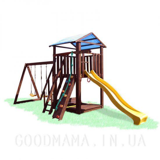 Детский игровой комплекс со скалолазкой и качелями для улицы