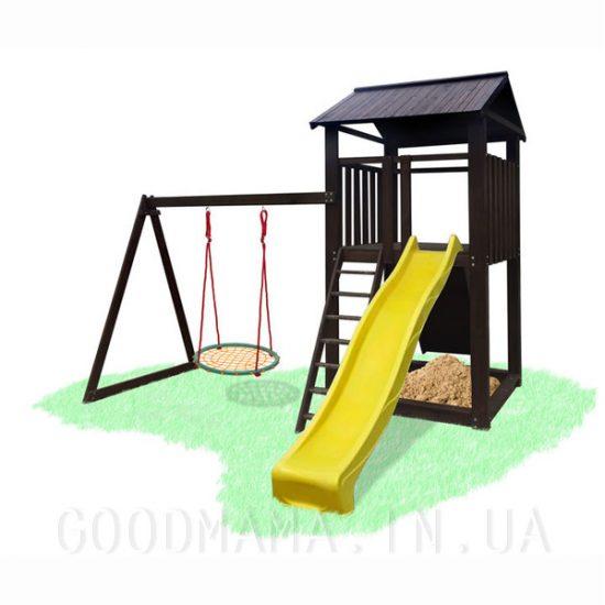 Детский игровой комплекс с деревяной крышей и качелей гнездо аиста