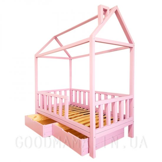 Кровать - домик с дымоходом и ящиками цветная