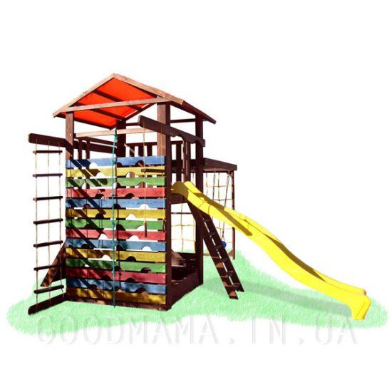 Детский игровой уличный комплекс с рукоходом, скалолазкой, качелями и цветной стеной-лазалкой