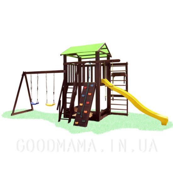 Детский игровой уличный комплекс со скалолазкой, качелями и шведской стенкой