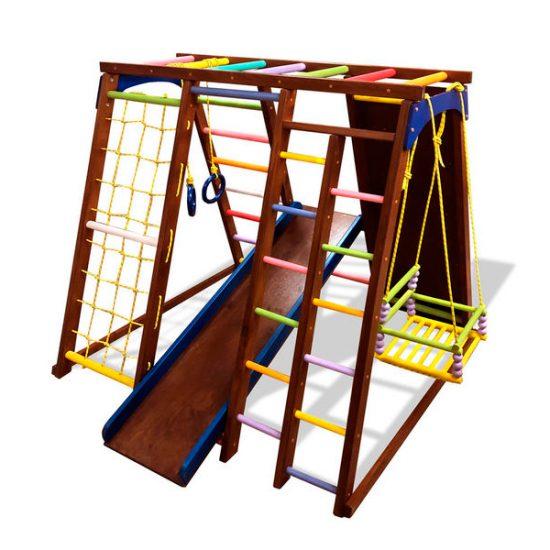 Детский спортивный комплекс из бука в в тонировке скалолазкой и качелей