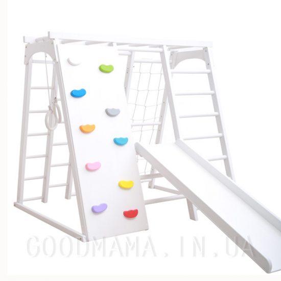 Детский спортивный комплекс из бука со скалолазкой белый без лесенки