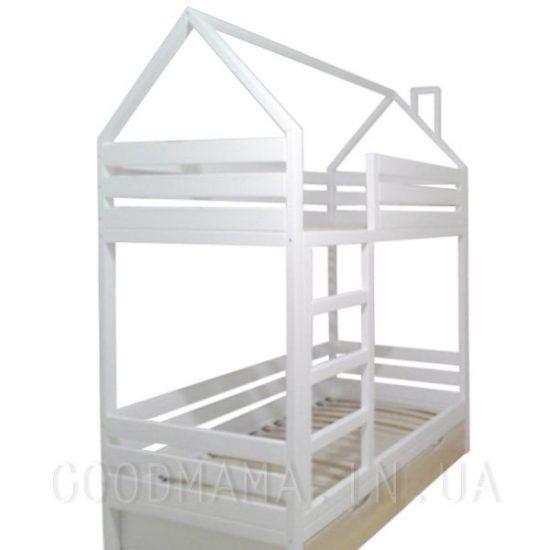 Кровать домик с дымоходом двухъярусная горизонтальные быльца