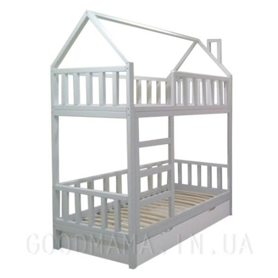 Кровать домик с дымоходом двухъярусная вертикальные быльца