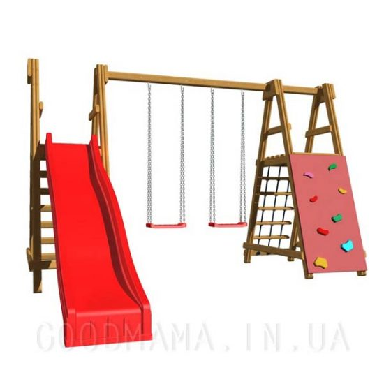 Детская игровая площадка с горкой из дерева