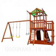Детский игровой домик с верандой для улицы сторона фронт