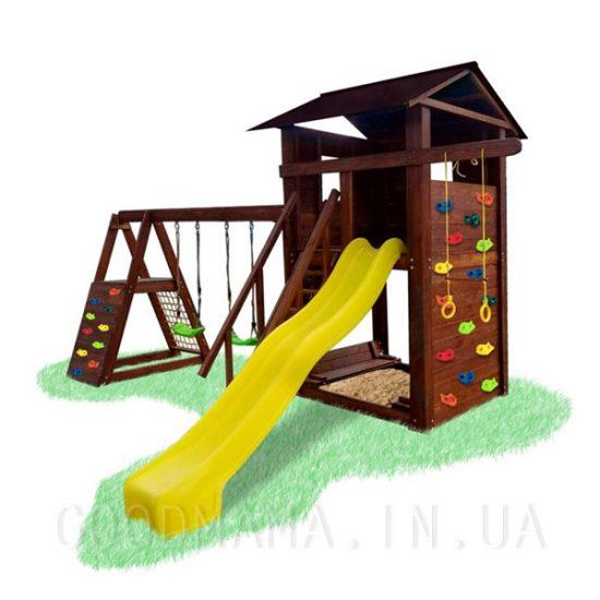 Детский уличный игровой комплекс с тумбой и скалодромом