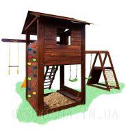 Детский уличный игровой комплекс с тумбой и скалодромом1