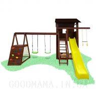 Детский уличный игровой комплекс с тумбой и скалодромом2